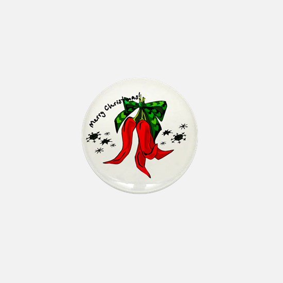 merry christmas 2 red pepper design Mini Button