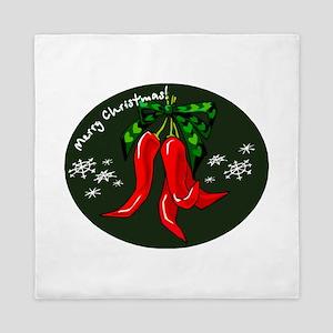 merry christmas red pepper design Queen Duvet