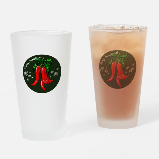 merry christmas red pepper design Drinking Glass