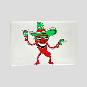 Pepper maracas sombrero sunglasses Rectangle Magne