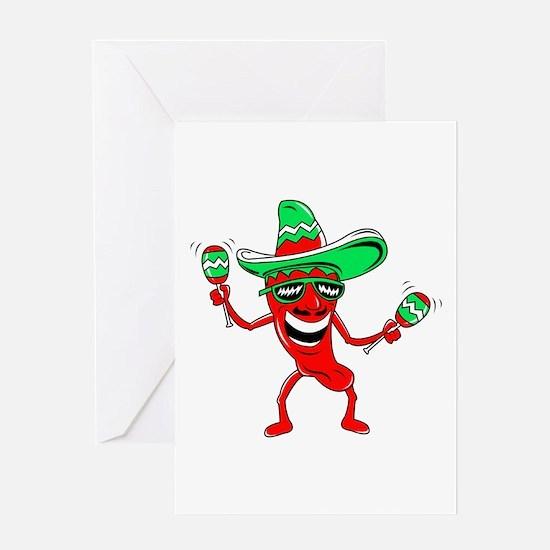 Pepper maracas sombrero sunglasses Greeting Card
