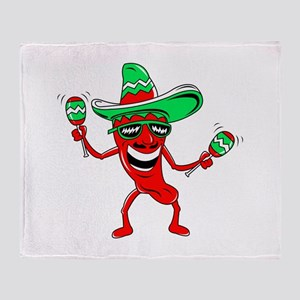 Pepper maracas sombrero sunglasses Throw Blanket