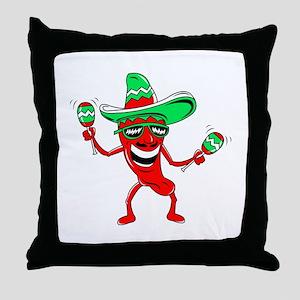 Pepper maracas sombrero sunglasses Throw Pillow