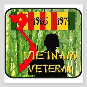 "Vietnam Veteran Square Car Magnet 3"" x 3"""