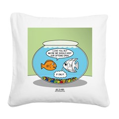 Fishbowl Relationships Square Canvas Pillow