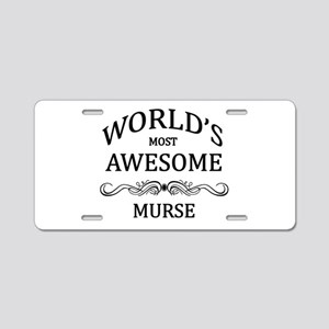 World's Most Awesome Murse Aluminum License Plate