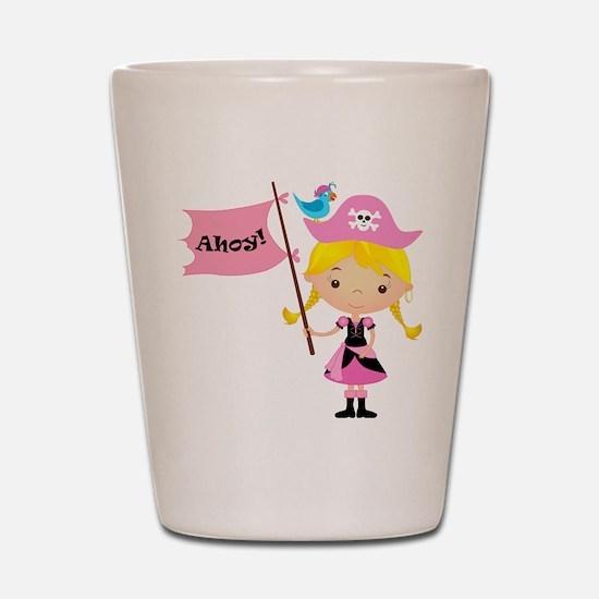 Pink Pirate Girl Shot Glass