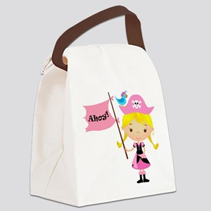 Pink Pirate Girl Canvas Lunch Bag