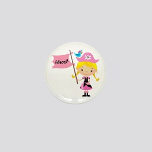 Pink Pirate Girl Mini Button