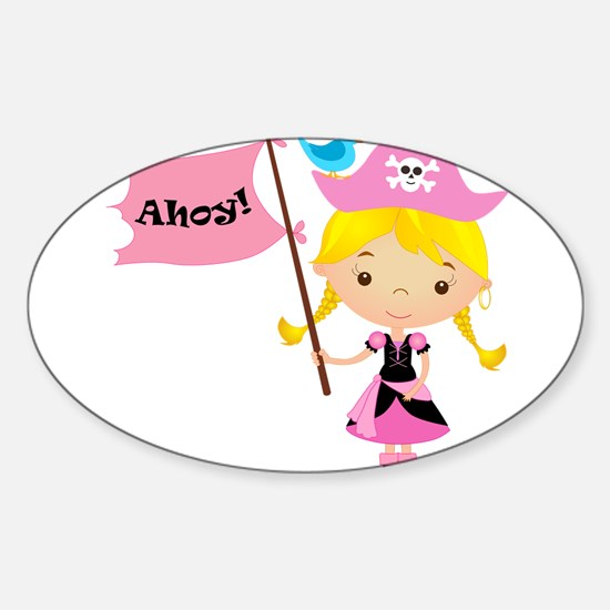 Pink Pirate Girl Sticker (Oval)