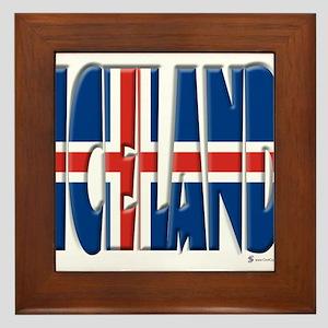 Word Art Flag Iceland Framed Tile
