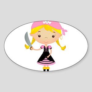Pirate Girl w/ Sword Sticker (Oval)