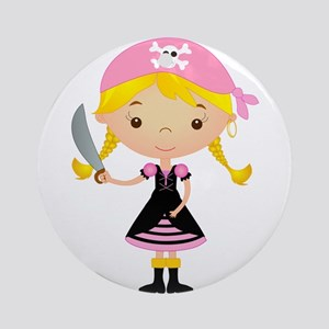 Pirate Girl w/ Sword Ornament (Round)