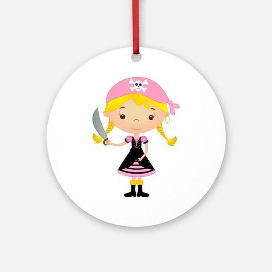 Pirate Girl w/ Sword Ornament (Round)