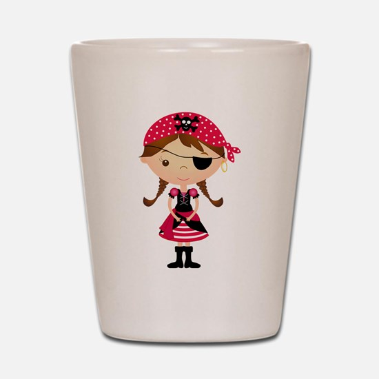 Pirate Girl in Red Shot Glass