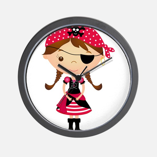 Pirate Girl in Red Wall Clock