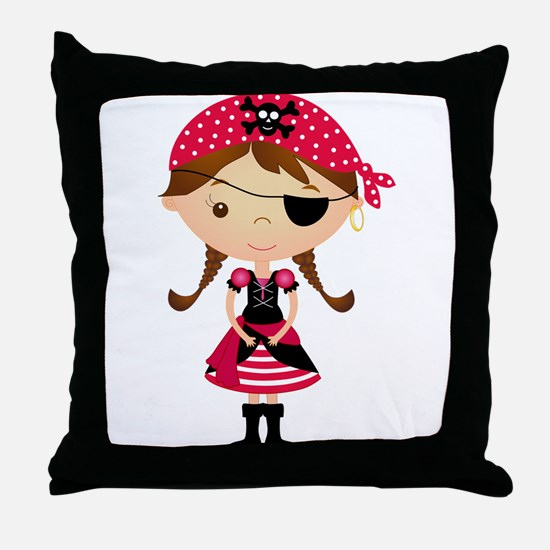 Pirate Girl in Red Throw Pillow