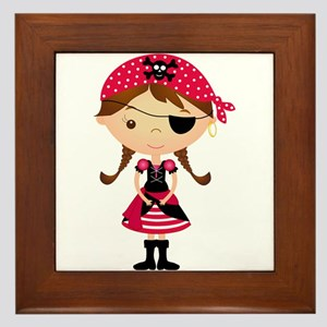 Pirate Girl in Red Framed Tile