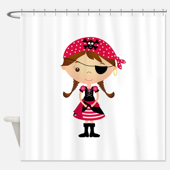 Pirate Girl in Red Shower Curtain