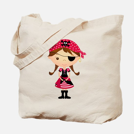 Pirate Girl in Red Tote Bag