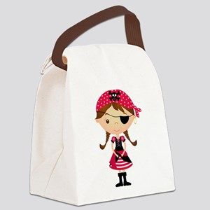 Pirate Girl in Red Canvas Lunch Bag