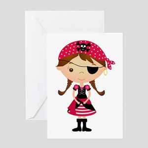 Pirate Girl in Red Greeting Card