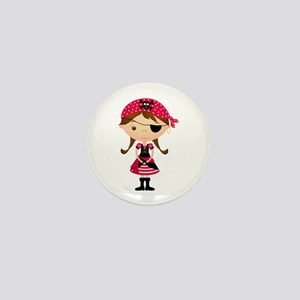 Pirate Girl in Red Mini Button