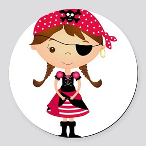 Pirate Girl in Red Round Car Magnet