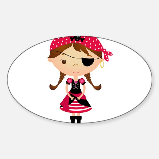 Pirate Girl in Red Sticker (Oval)
