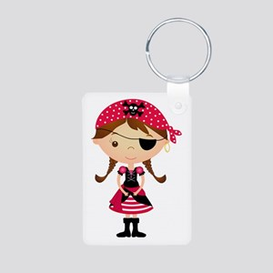 Pirate Girl in Red Aluminum Photo Keychain
