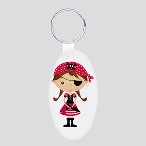 Pirate Girl in Red Aluminum Oval Keychain