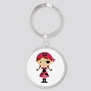 Pirate Girl in Red Round Keychain
