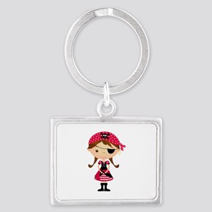 Pirate Girl in Red Landscape Keychain