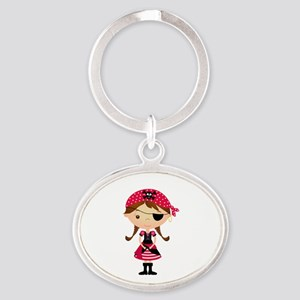 Pirate Girl in Red Oval Keychain