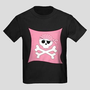Pink Skull & Crossbones Pirate Flag Kids Dark T-Sh