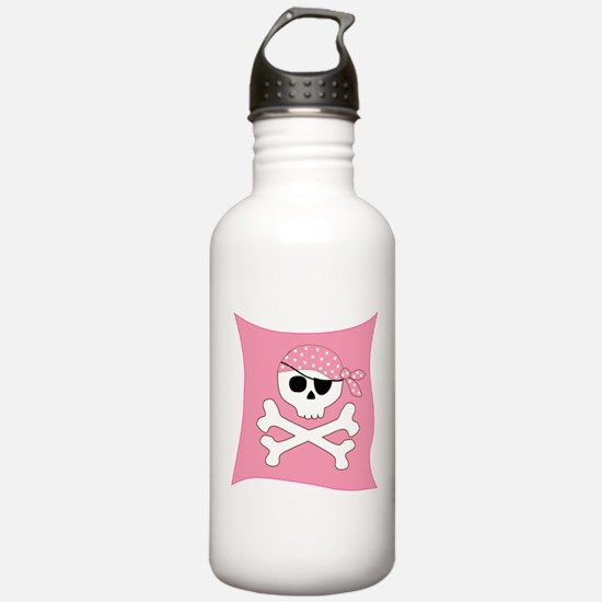 Pink Skull & Crossbones Pirate Flag Water Bottle