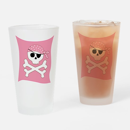 Pink Skull & Crossbones Pirate Flag Drinking Glass