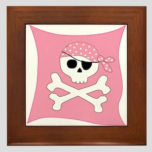 Pink Skull & Crossbones Pirate Flag Framed Tile