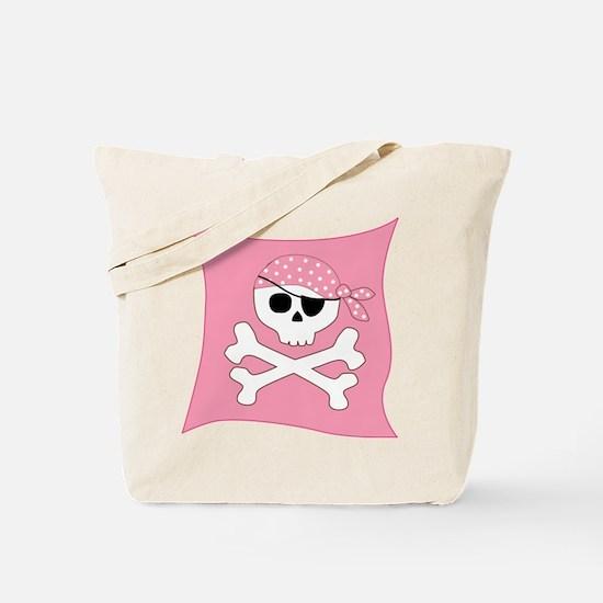 Pink Skull & Crossbones Pirate Flag Tote Bag