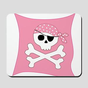 Pink Skull & Crossbones Pirate Flag Mousepad