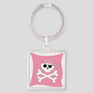 Pink Skull & Crossbones Pirate Flag Square Keychai