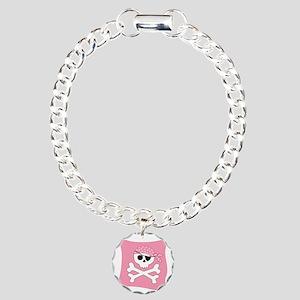 Pink Skull & Crossbones Pirate Flag Charm Bracelet