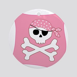 Pink Skull & Crossbones Pirate Flag Ornament (Roun