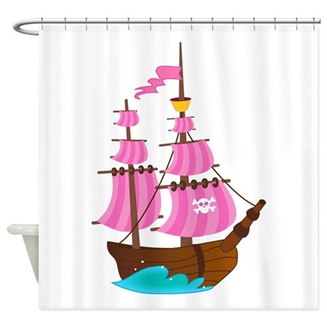 Pink Pirate Ship Shower Curtain by SweetPeaMaternity