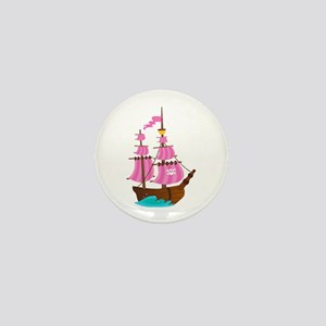 Pink Pirate Ship Mini Button