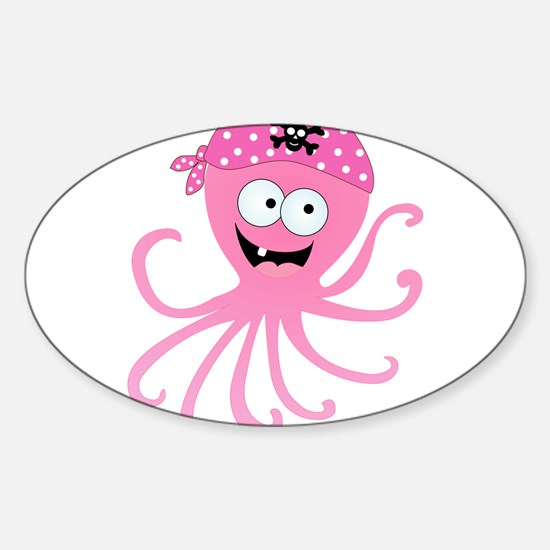 Pink Pirate Octopus Sticker (Oval)