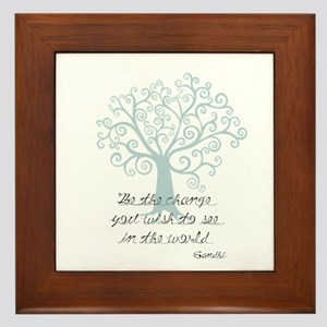 Be the Change Tree Framed Tile