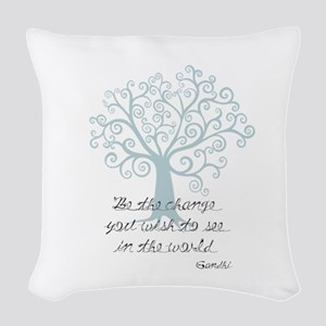 Be the Change Tree Woven Throw Pillow