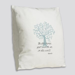 Be the Change Tree Burlap Throw Pillow