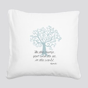 Be the Change Tree Square Canvas Pillow